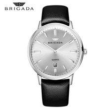 New Mens Waterproof Watches Leather Strap Slim Quartz Casual Business Mens Wrist Watch Top Brand Brigada Male Clock 2019 Fashion все цены