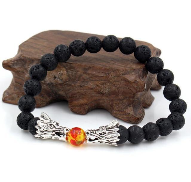 Fashion Beads Bracelet Natural Stone Black lava Bead Play Ball Two Dragon O S4C8