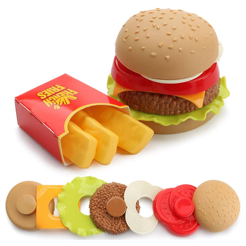 Kids Children Simulation Hamburger French Fries Toy Pretend Play Assembled Toy Food Education Kids Toy DIY Assembling