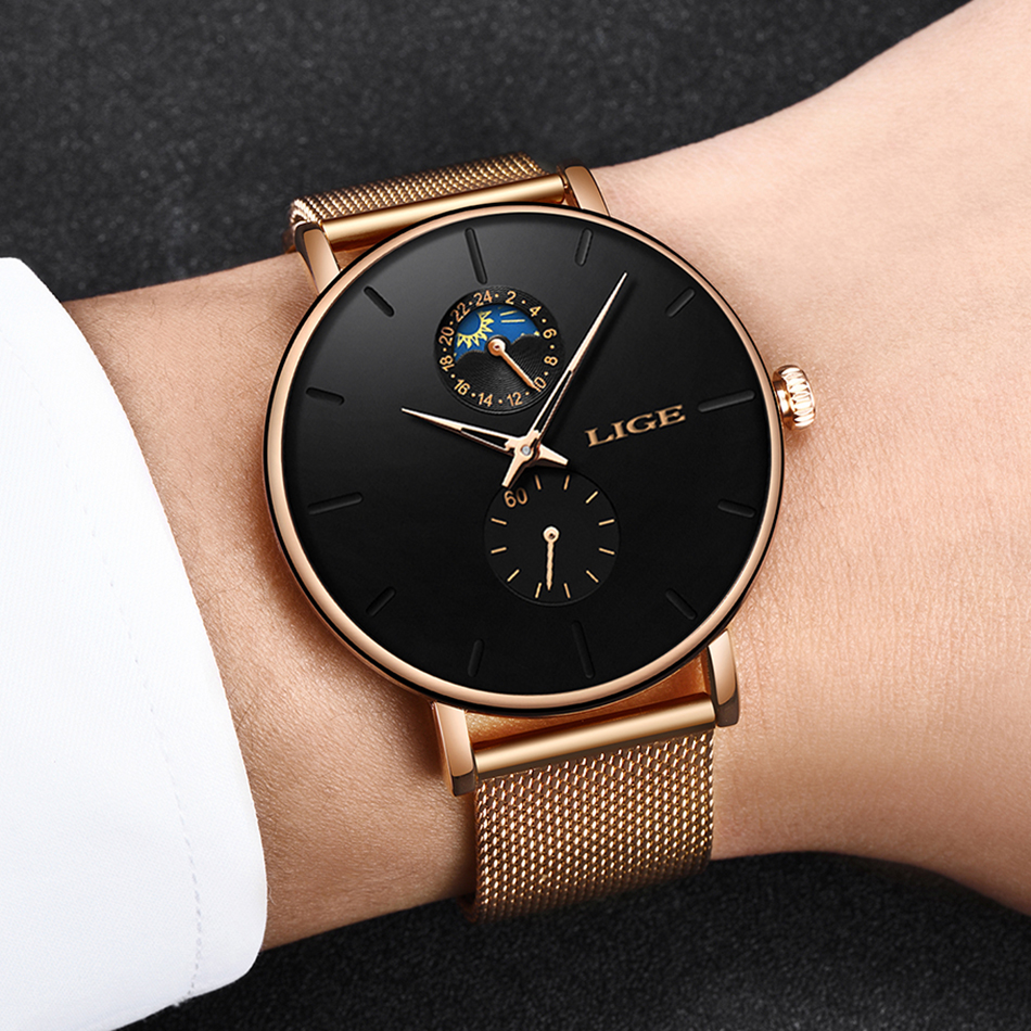 2019 LIGE Top Brand Luxury Watches Men Stainless Steel Ultra Thin Watches Men Classic Quartz Men 39 s Wrist Watch Relogio Masculino in Quartz Watches from Watches