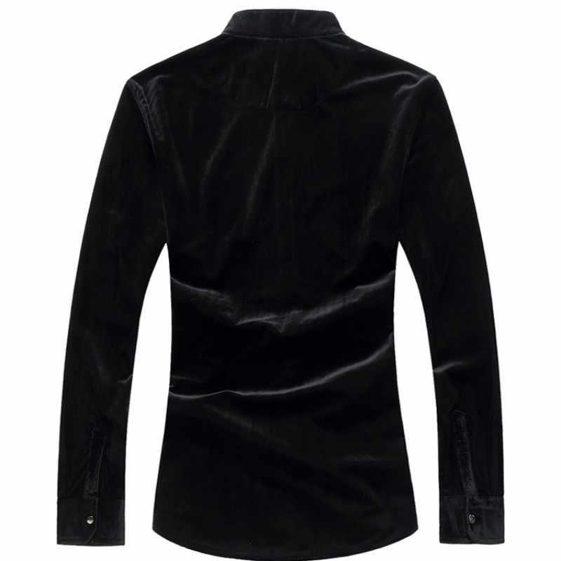 Zimowe męskie Velet koszule na co dzień koreański, slim Fit stojak kołnierz koszule biznesowe długi rękaw praca w biurze męska bluzka duże rozmiary M-6XL