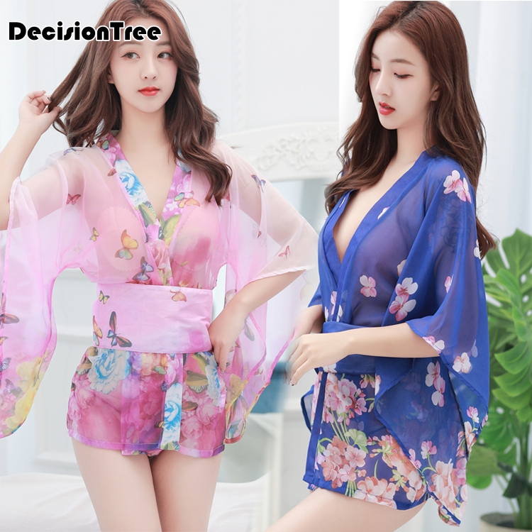 2019 Vintage Kimono Japones Dress Yukata Japanese Style Transparent Dress With Obi Clubwear Kimonos Erotic Lingerie Kimono Dress