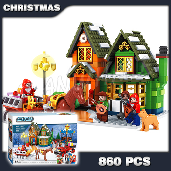 860pcs Alanwhale Winter Village Post Office City Advent Calendar Christmas Model Building Blocks Bricks Toy Compatible with Lago