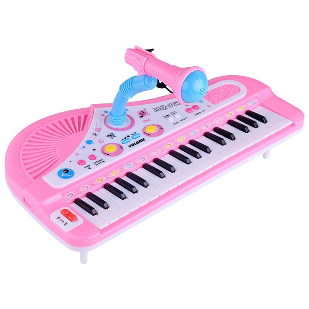 Electronic 37-Key Pluggable Multifunction Piano Keyboard With Microphone