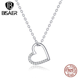 Love Heart Jewelry BISAER 925 Sterling Silver Simple Love Heart Necklaces for Women Cubic Zircon CZ Women Jewelry ECN347