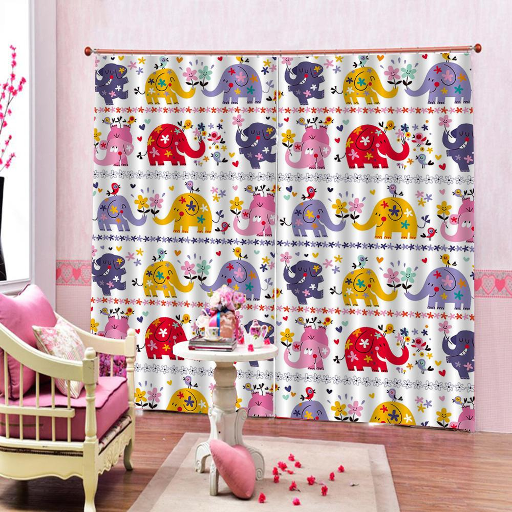 Customized size cartoon Colorful elephant curtains Luxury Blackout 3D Window Curtains For Living Room Bedroom