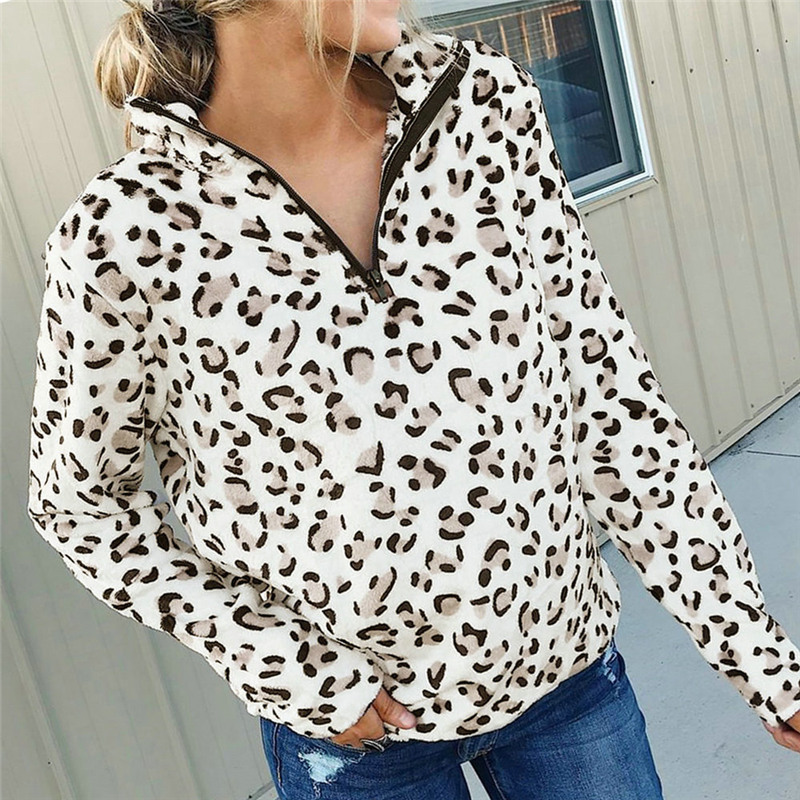 Fashion Women Leopard Print Hoodies And Sweatshirt Elegant Long Sleeve Pullover Autumn Winter Top Ladies Truien Dames Streetwear