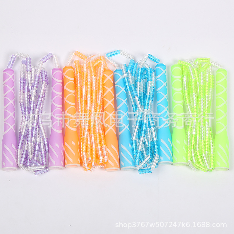 Creative Decorative Pattern Handle Transparent Soft Zhulan Fitness Jump Rope Bamboo Joint Jump Rope Hundred Section Jump Rope Sp