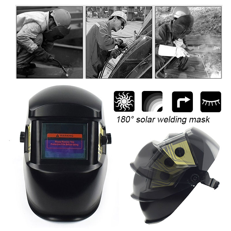 Solar Auto Darkening Protect Welder Mask Anti-Glare Lens 60mAH Lithium Battery Head-Mounted Welding Helmet Shade Adjustment