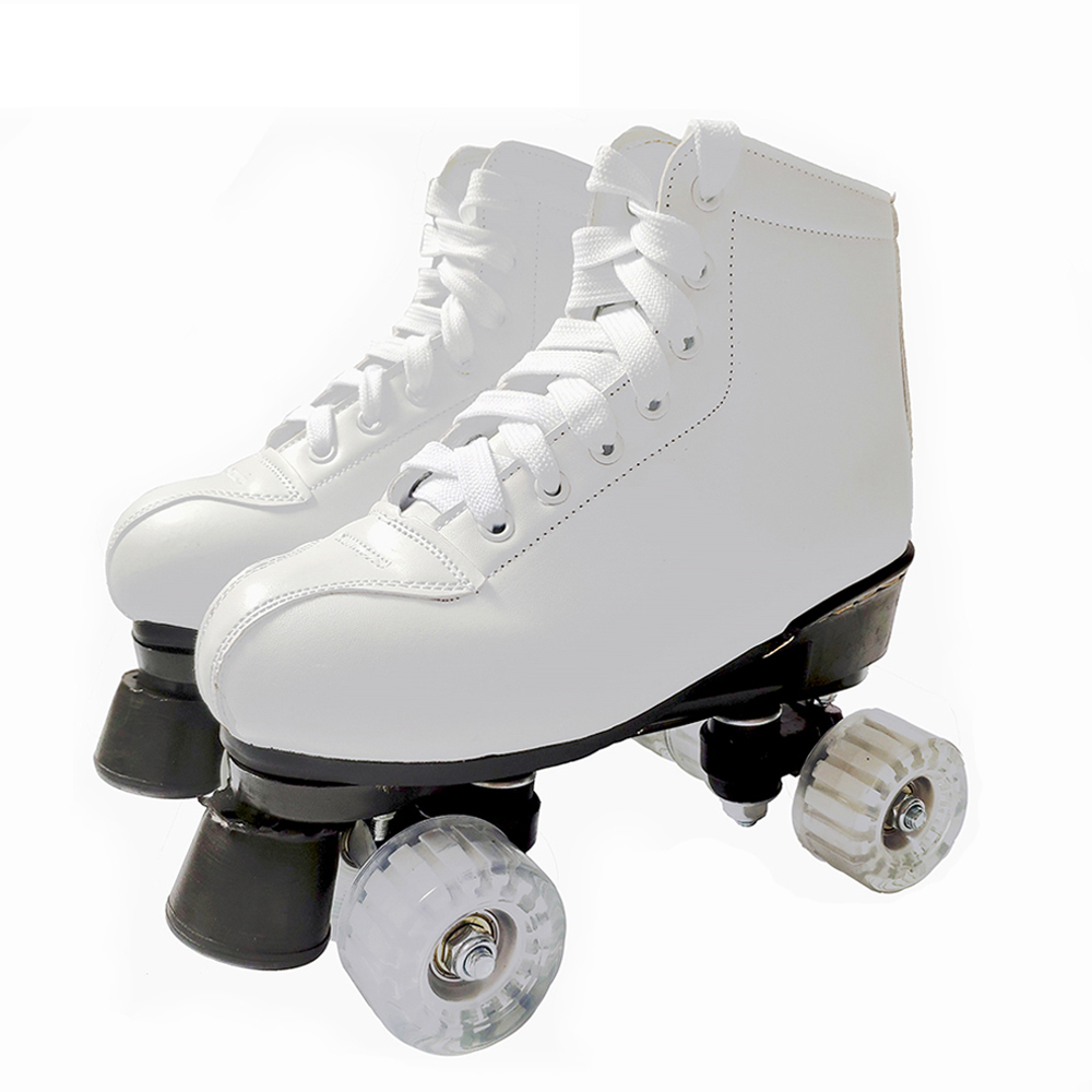 Artificial Leather Roller Skates Double Line Skates Women Men Adult Two Line Skating Shoes Patines With White PU 4 Wheels