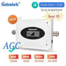 2021 nowy ulepszony wzmacniacz sygnału Lintratek AGC 4G LTE B28 700 DCS 1800 WCDMA 2100 GSM 900 wzmacniacz komórkowy wzmacniacz komórkowy