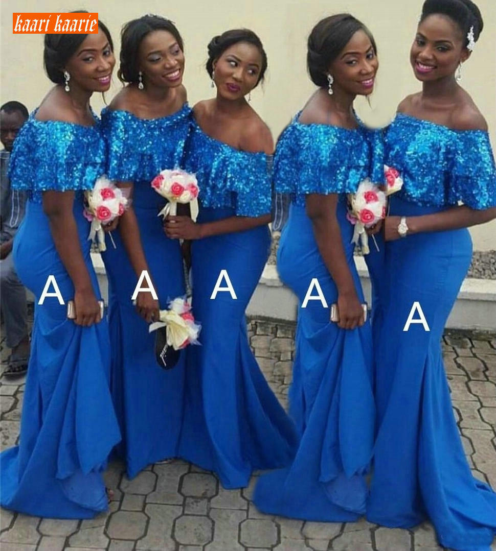 African Blue Mermaid Bridesmaid Dresses Short Sleeves Sequin Elastic Satin Maid Of Honor Dress Women Formal Wedding Party Gowns