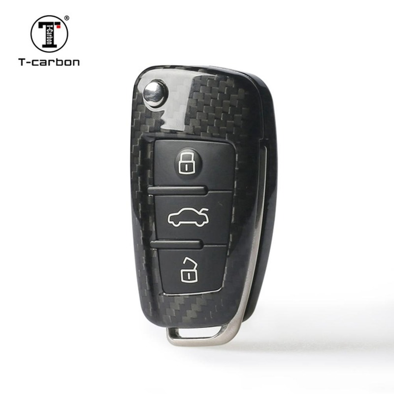 Carbon Fiber <font><b>Remote</b></font> Smart Car <font><b>Key</b></font> Case Cover Fob Shell for <font><b>Audi</b></font> B6 B7 B8 <font><b>C5</b></font> C6 C7 A3 A4 A5 <font><b>A6</b></font> A7 A8 S4 S6 Q3 Q5 Q7 R8 TT SQ5 RS5 image