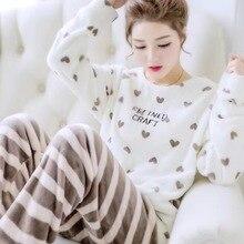 2021 Winter Flannel Thicken Pajamas Set for Women Long Sleeve + Long Pants Casual Loose Warm Soft Sleepwear Loungewear 2Pcs Pjs
