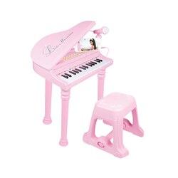 Kinder Klavier Mini Musik Geschenk Kinder Musical Spielzeug Klavier Mikrofon Musik Instrument Spielen Spielzeug Set Kinder Geschenke-Rosa Schwarz