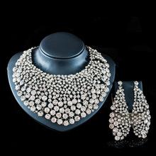 Nowe zestawy biżuterii ślubnej pełny naszyjnik z kryształem austriackim zestawy kolczyków dla kobiet zestawy biżuterii ślubnej i imprezowej JS140 tanie tanio SHCXGQN Ze stopu miedzi Kobiety Czechy Ślub PLANT Zestawy biżuterii dla nowożeńców NECKLACE EARRINGS Europe And America