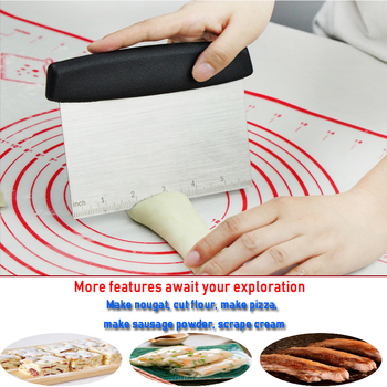 1Pcs Stainless Steel Metal Griddle Scraper Chopper - Great as Dough Cutter for Bread and Pizza Dough baking supplies