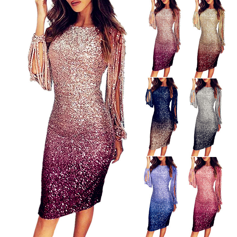 Women Sequins Elegant <font><b>Dress</b></font> Tassel Spring Summer Boho Party Full Long Sleeve Mini <font><b>Dress</b></font> <font><b>Plus</b></font> <font><b>Sizes</b></font> <font><b>Dresses</b></font> <font><b>Sexy</b></font> Robe Femme 2020 image