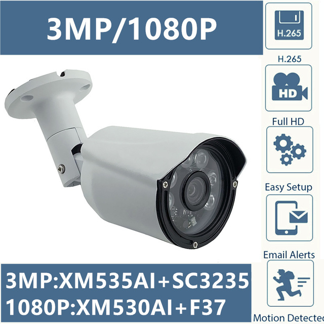 3MP 2MP IP Metal Bullet Camera Outdoor XM535AI+SC3235 2304*1296 XM530+F37 1080P IP66 WaterProof CMS XMEYE P2P Cloud RTSP