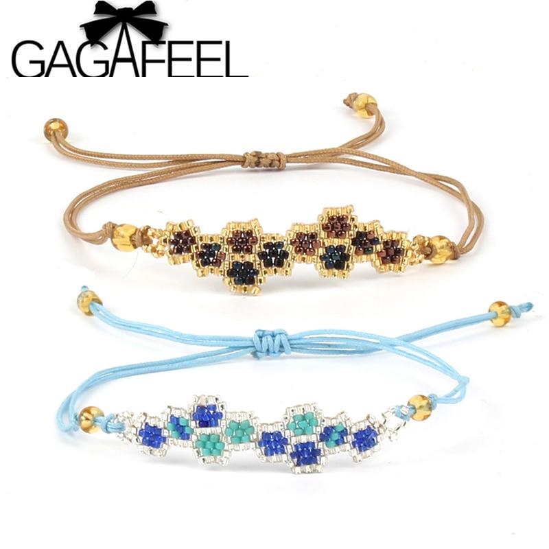 GAGAFEEL Handmade Charm Bracelets Retro Multicolor Mini Beads Weave Rope Chain Unisex Fashion Jewelry Fine Bracelet