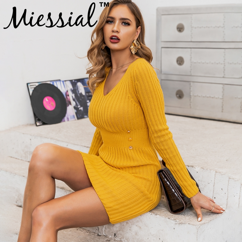 Miessial Yellow Knitted V Neck Bodycon Mini Sweater Dress Women Long Sleeve Autumn Elegant Dress Winter Warm Casual Club Dress