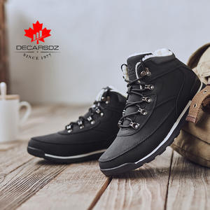 Men's Boots Black Ankle Winter Fashion Man Outdoor Plush Fur Lace-Up Brand Warm High-Quality