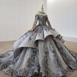 Image 3 - HTL1199 nowa długa elegancka suknia wieczorowa 2020 z długim rękawem na szyję aplikacja kryształowa koronka z powrotem cekinami