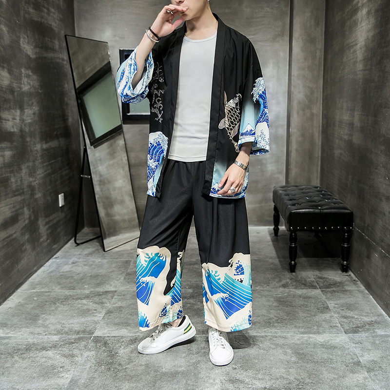 Chinese-style Set Men Three-quarter-length Sleeve Cardigan Coat Waves Printed Kimono Large Size Summer Elegant Casual Two-Piece