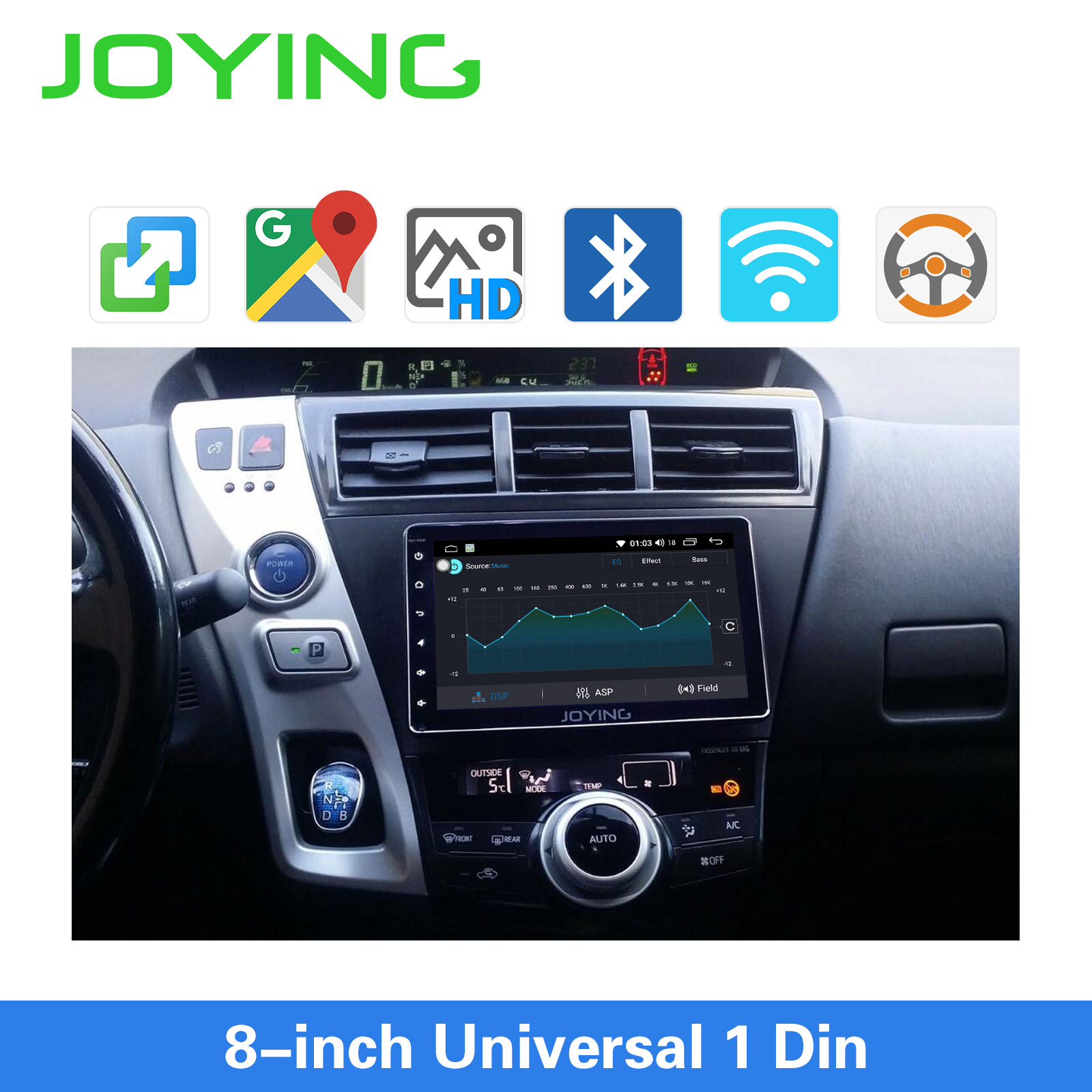 Image 5 - JOYING single din universal car radio 8 inch IPS screen autoradio head unit GPS suport mirror link& fast boot&s*back up cameraCar Multimedia Player   -