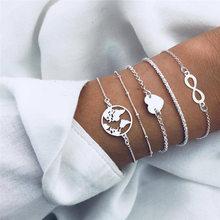 New bracelets bohemian gift bracelet ladies statement heart map handmade charm beads chain trend jewelry
