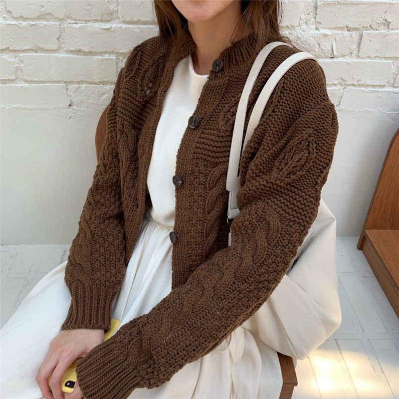 HziriP los estudiantes con estilo 2019 espesar Casual trenzado otoño Cardigans todo-fósforo de manga completa breve mujeres suéteres cortos básicos