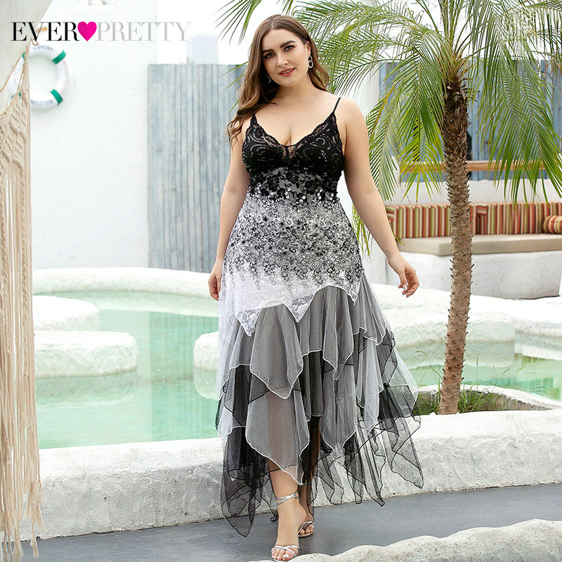 Plus Size Sequined Cocktail Dresses Ever Pretty Asymmetrical Deep V-Neck Spaghetti Straps Beaded Sexy Party Gowns Vestidos 2020