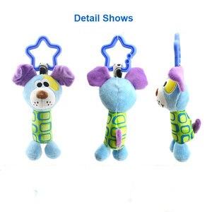 Image 4 - תליית קטיפה תינוק צעצוע רעשן יפה קריקטורה בעלי החיים פעמון יילוד עגלת אביזרי תינוק צעצועי 6 סגנון אריה צבי פיל WJ148