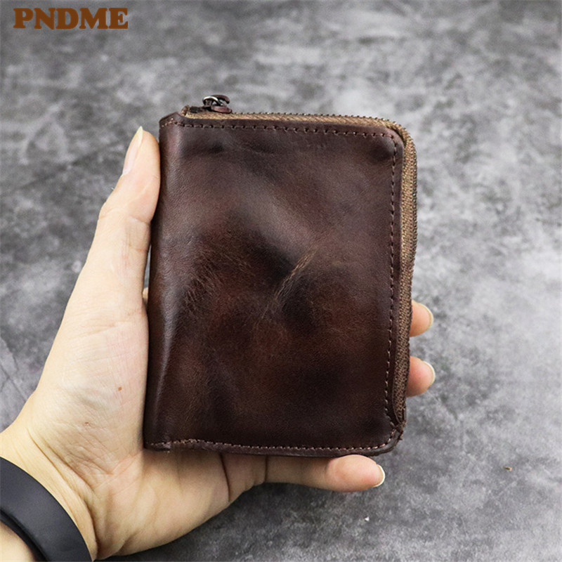 PNDME vintage high quality soft genuine leather coin purse first layer cowhide zipper luxury small credit card holder wallet