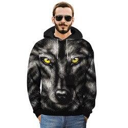 3D Wolf Hoofd Winter Print Hip Hop Casual Hoodies Jassen Mannen Sprint Herfst Sweatershirts Trui Maat M-3XL