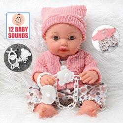 30.5cm simulation cheveux longs bebe reborn nouveau-né poupée 12 pouces silicone souple réaliste double poupée bricolage son éducation jouets enfants