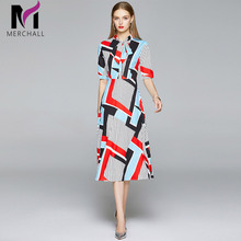 Merchall New Summer Dress Runway Women Bow Neck Short Sleeve