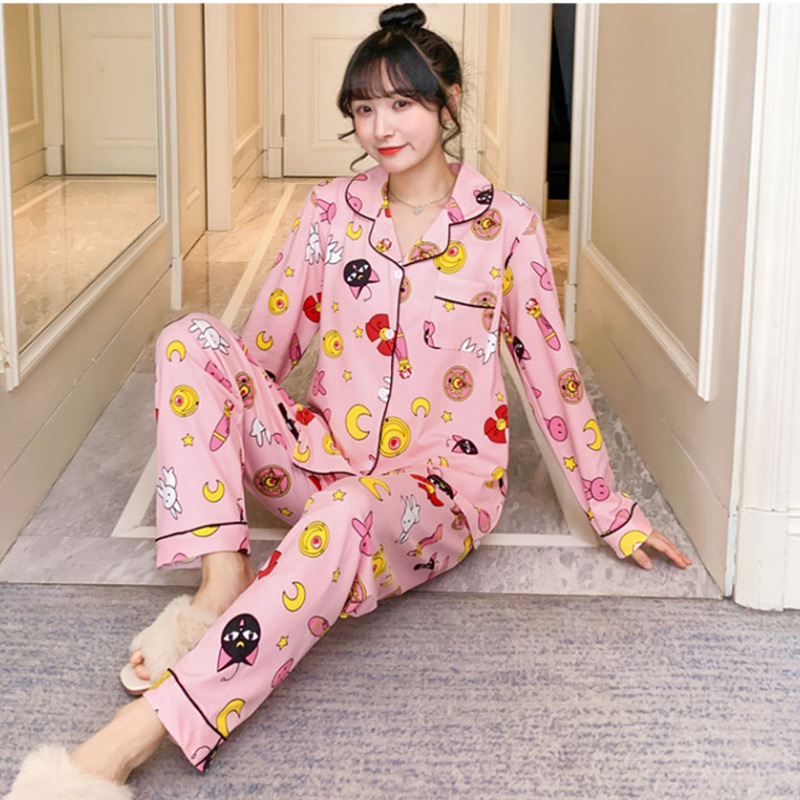 Spring Print Womens Home Wear Pink Long Sleeve Pocket Sweet Pajamas Sets Female Sleepwear 2020 Summer Casual Ladies Home Clothes