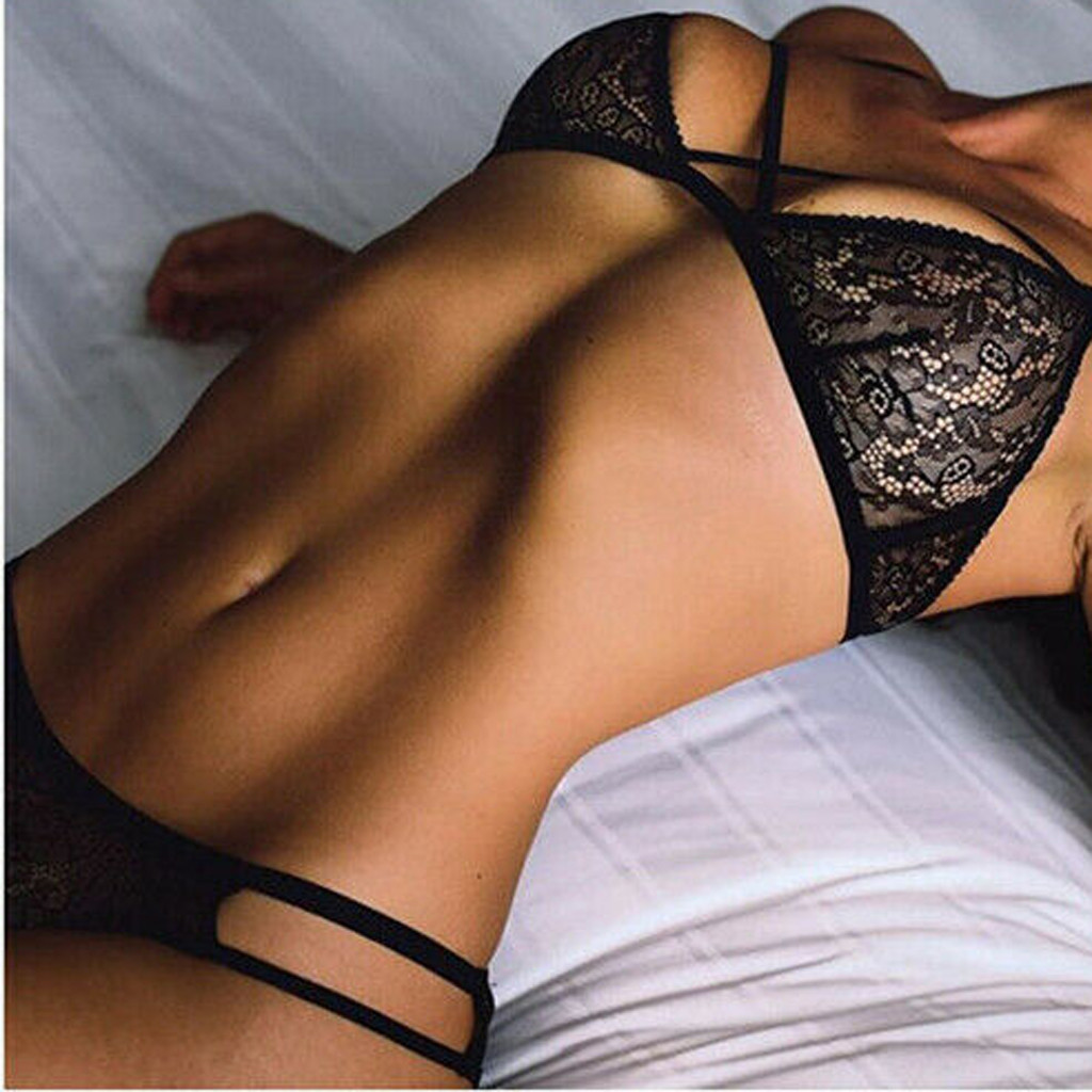 Bra  Brief Sets Women Lingerie Lace Spandex Sexy Up Bra Panties Set G-String Sleepwear Black Nightwear Underwear Set 2PCS