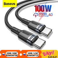 Baseus 100ワットusb c usbタイプcケーブルusbc pd急速充電器コードUSB-C 5AタイプcケーブルxiaomiポコX3 M3サムスンmacbook ipad