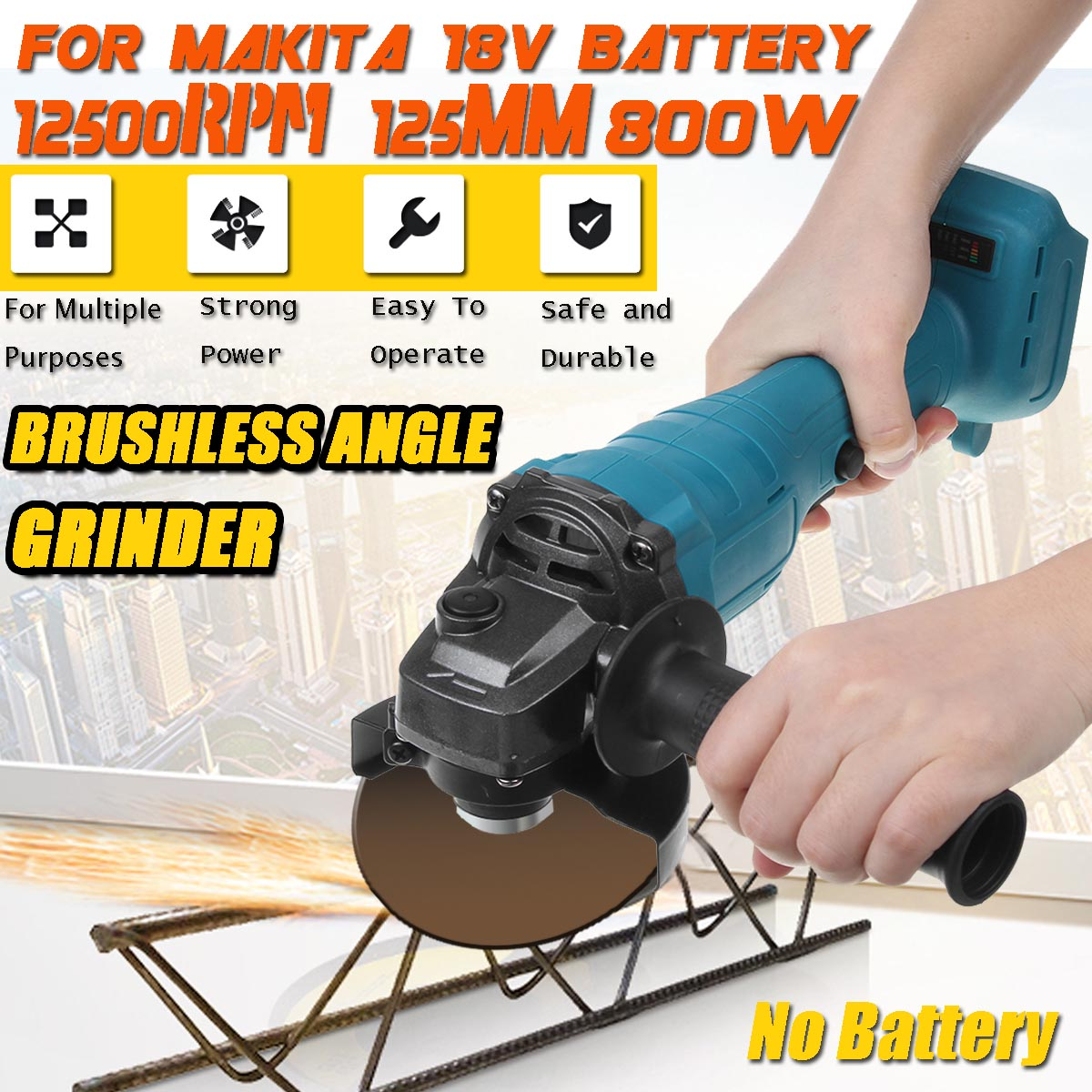 800W 125mm Brushless Cordless Electric Angle Grinder Variable Speed 12500 rpm Power Tool Cutting Machine For Makita 18V Battery