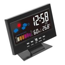 Электронный цифровой ЖК контроль температуры и влажности Часы с термометром и гигрометром декоративные часы Электронные Домашние будильник с прогнозом погоды