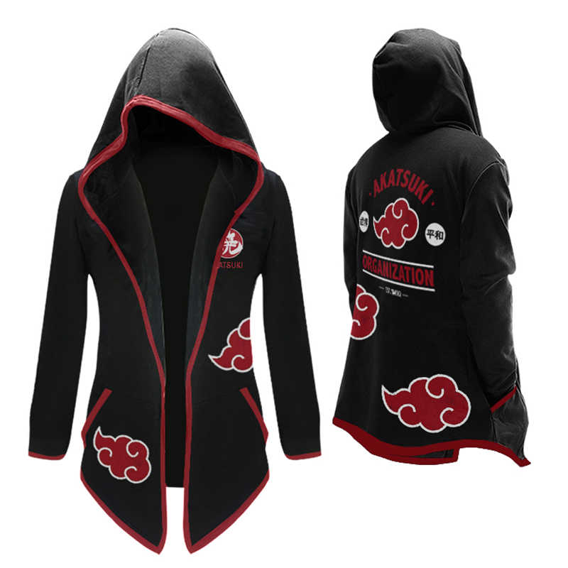 Anime NARUTO Akatsuki Cosplay Kostuums Uchiha Itachi Geul Jumpsuits Mantel Hooded Thicken Vest Sweater Hoodies Jassen