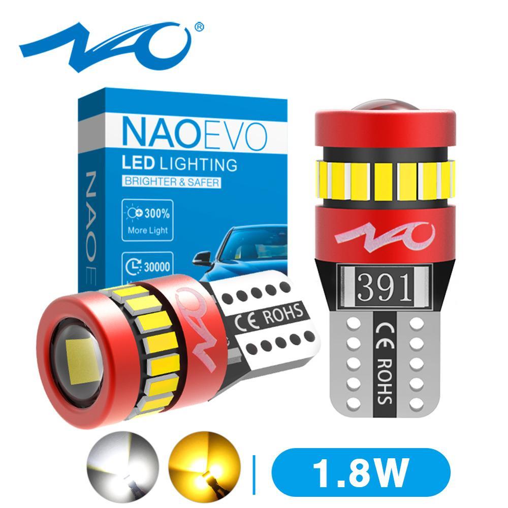 NAO T10 светодиодный W5W 1,8 W автомобильный боковой внутренний свет 12V Супер яркая лампа 3030 3014 чипов авто белый 6000K парковочный маркер купольные л...