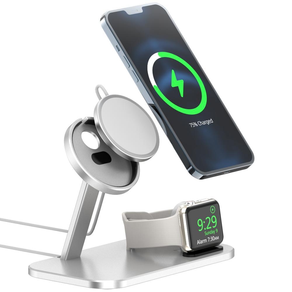 Беспроводная зарядная станция, подставка для Apple Magsafe для iPhone 12 Pro Max Mini и Apple Watch i-Watch, беспроводная зарядная площадка, док-держатель