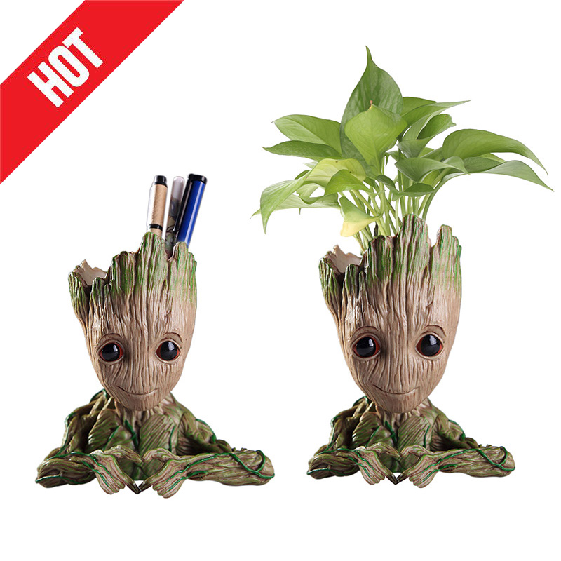 Hot Flower Pot Baby Groot Flowerpot Cute Toy Pen Pot Holder PVC Hero Model Baby Tree Man Garden Plant Pot Groot Dropshipping