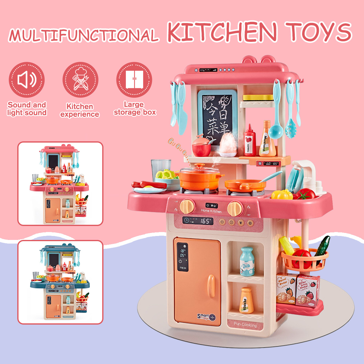42Pcs Kids <font><b>Kitchen</b></font> <font><b>Toys</b></font> Simulation детская кухня Spray Water Dinnerware Pretend Play Cooking Table <font><b>Kitchen</b></font> <font><b>Set</b></font> for Kids Gifts image