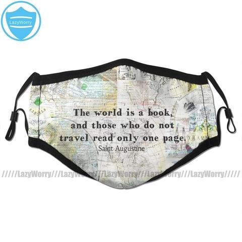 Mapa do Mundo Boca o Mundo Filtros para Adulto Legal com 2 Máscara Facial Livro Viajar Citação Forma é um