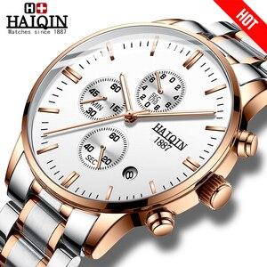 Image 1 - Мужские модные часы HAIQIN, роскошные/спортивные/военные/золотые/кварцевые наручные часы для мужчин
