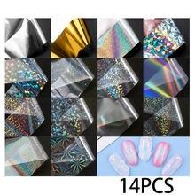 14 adet tırnak kaplaması holografik tırnak çıkartmalar transferi folyo Holo düzensiz üçgen Nail Art çıkartması manikür için